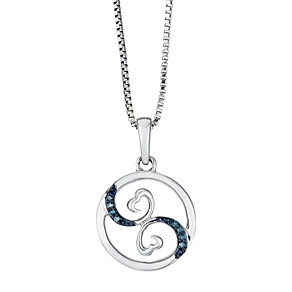 Open Hearts Waves By Jane Seymour Silver & Diamond Pendant - Product number 2148072