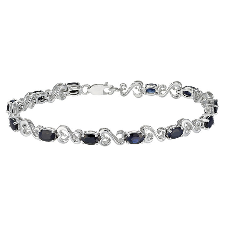 Open Hearts by Jane Seymour Silver Diamond Sapphire Bracelet - Product number 2155818