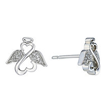 Open Hearts Angels By Jane Seymour Silver Diamond Earrings - Product number 2155826