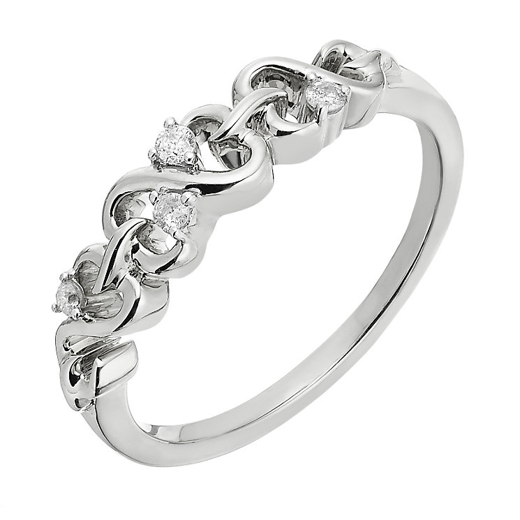 Open Hearts By Jane Seymour 9ct White Gold Diamond Ring - Product number 2156245