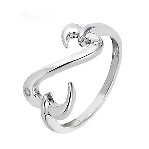 Open Hearts By Jane Seymour Silver Diamond Heart Ring - Product number 2156873