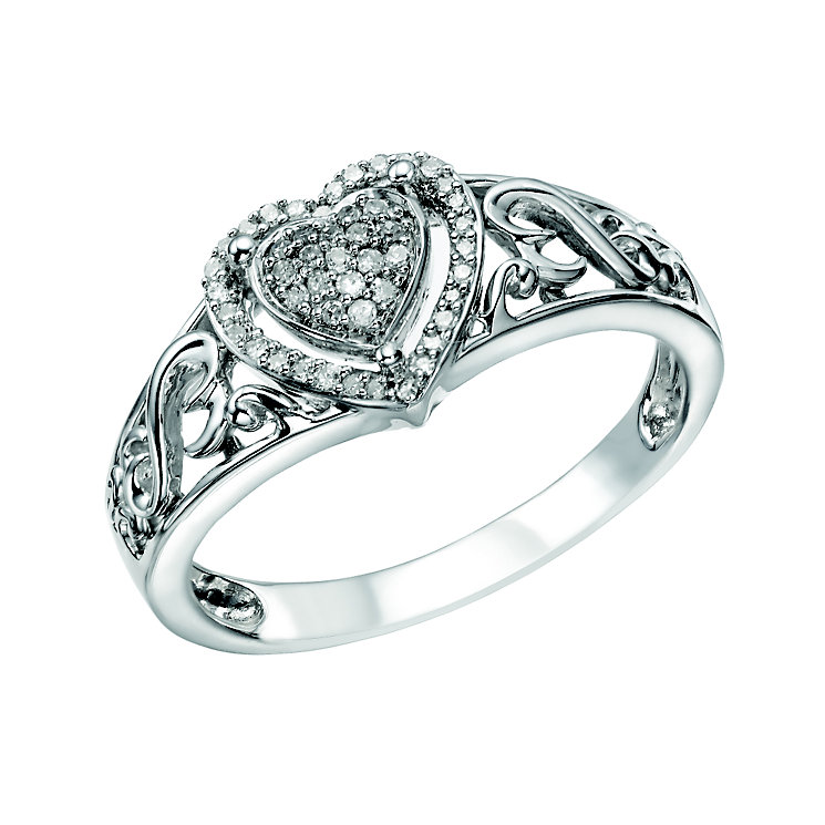 Open Hearts By Jane Seymour Silver Diamond Heart Ring - Product number 2157950