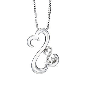 Open Hearts Family By Jane Seymour Silver & Diamond Pendant - Product number 2158582