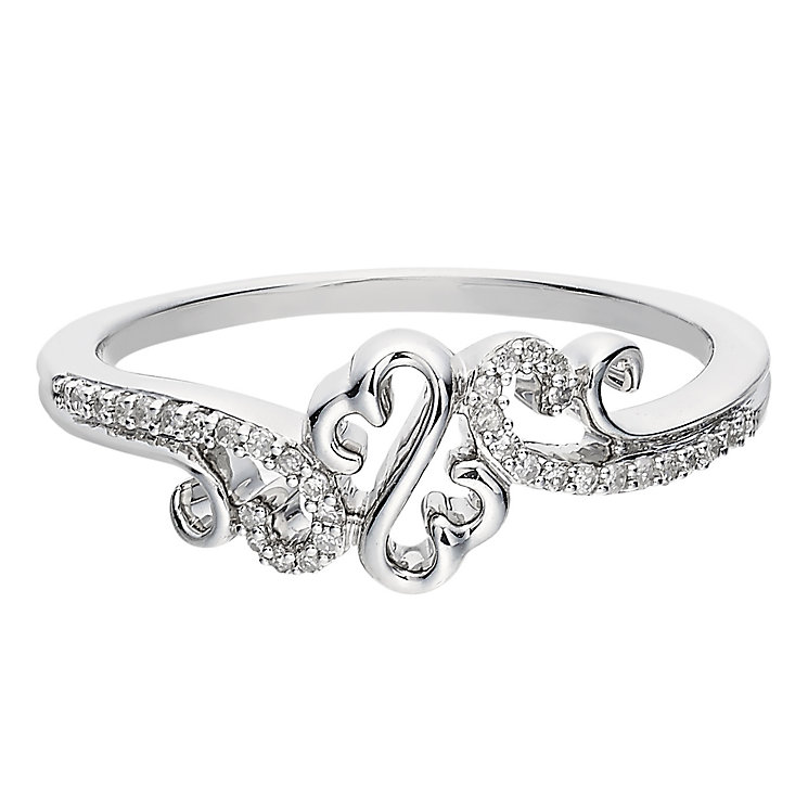Open Hearts Waves By Jane Seymour Diamond Silver Heart Ring - Product number 2160641