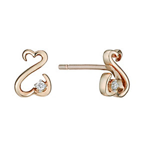 Open Hearts By Jane Seymour 9ct Rose Gold & Diamond Earrings - Product number 2161877