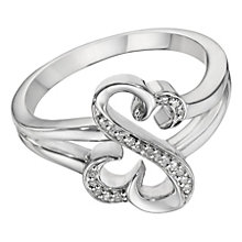 Open Hearts by Jane Seymour Silver & Diamond Ring - Product number 2162016