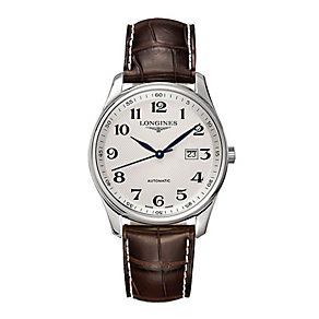 Longines men's brown leather strap watch - Product number 2162377