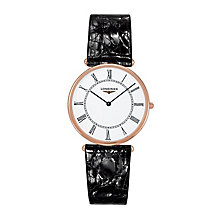 Longines ladies' 18ct rose gold black leather strap watch - Product number 2162733