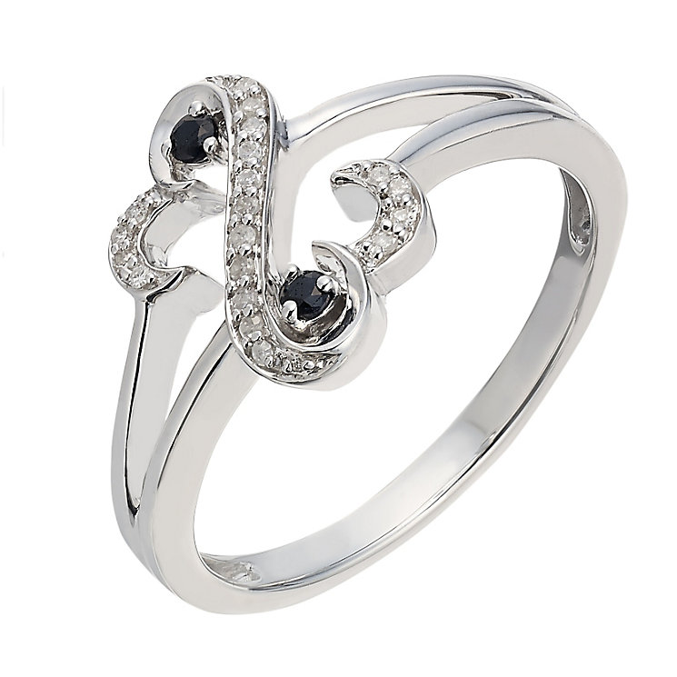 Open Hearts By Jane Seymour Sapphire & Diamond Ring - Product number 2163918