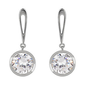 Mikey Silver Tone Round Crystal Drop Earrings - Product number 2166402