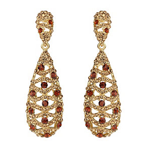 Mikey Gold Tone And Red Crystal Filigree Drop Earrings - Product number 2166534