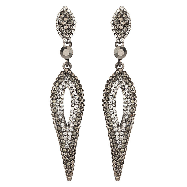 Mikey Grey & Clear Crystal Long Hanging Oval Earrings - Product number 2166550