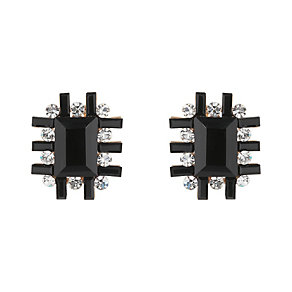 Mikey Large Clear & Black Crystal Cross Design Stud Earrings - Product number 2166666