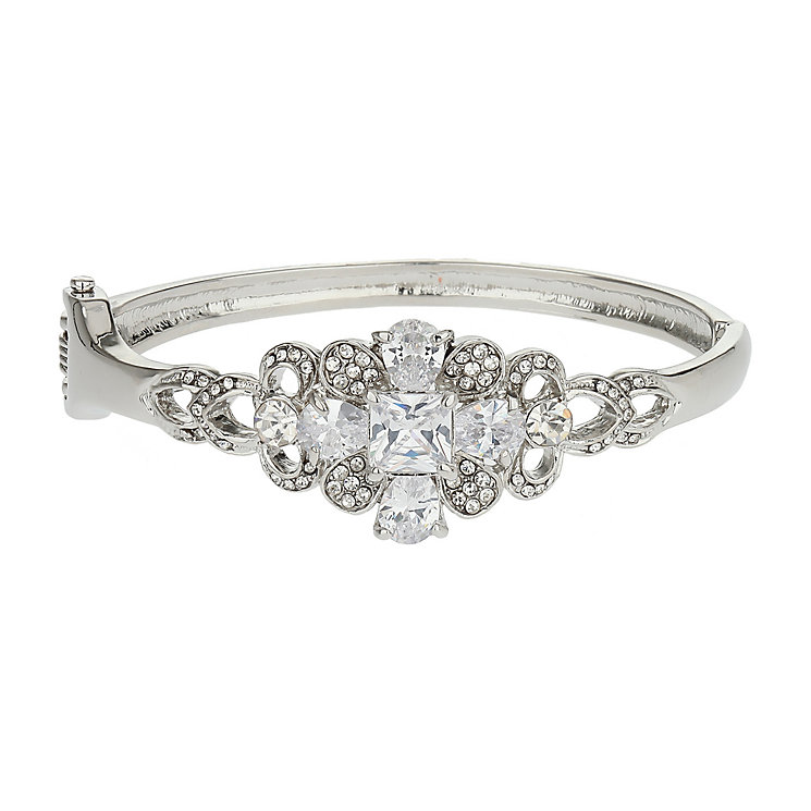 Mikey Crystal Silver Tone Bangle Bracelet - Product number 2166909