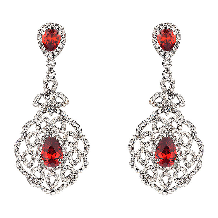 Mikey Vintage Red & Clear Crystal Drop Earrings - Product number 2167050