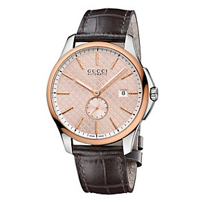 Gucci men's 18ct pink gold-capped brown leather strap watch - Product number 2173751