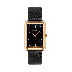 Rotary men's black leather strap watch - Product number 2174995