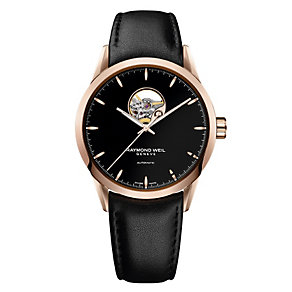 Raymond Weil men's rose gold-plated black strap watch - Product number 2175037