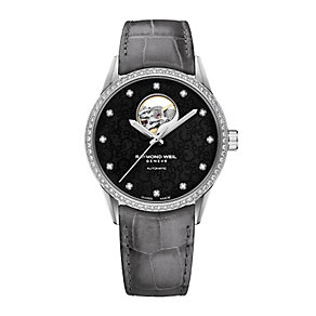 Raymond Weil ladies' stone set black leather strap watch - Product number 2175053