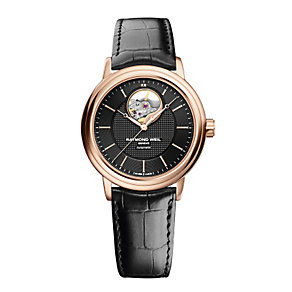 Raymond Weil men's rose gold-plated & black strap watch - Product number 2175118