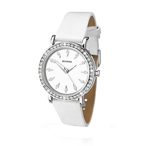 Sekonda Editions Ladies Stone Set White Strap Watch - Product number 2175150