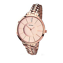 Sekonda Editions Ladies' Rose Gold Tone Stone Set Watch - Product number 2175169