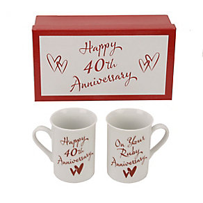 40th Ruby Anniversary Mugs - Product number 2175460