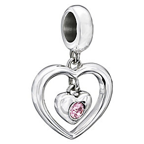 NEW! Chamilia Silver Pink Swarovski Elements Heart Bead - Product number 2177692