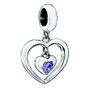 Chamilia Silver Purple Swarovski Elements Heart Bead - Product number 2177706