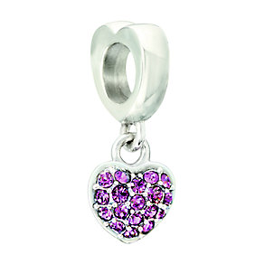 Chamilia Fuchsia Swarovski Elements Silver Heart Bead - Product number 2177900