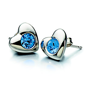 Chamilia Silver Sapphire Swarovski Elements Heart Studs - Product number 2177927