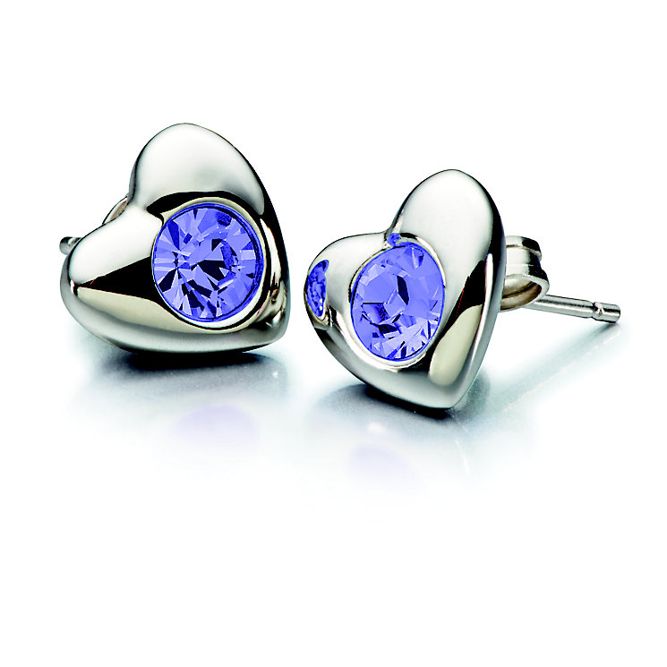 Chamilia Tanzanite Swarovski Crystal Silver Heart Studs - Product number 2177994