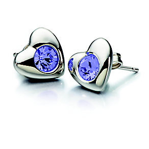 Chamilia Tanzanite Swarovski Crystal Silver Heart Studs - Product number 2177994