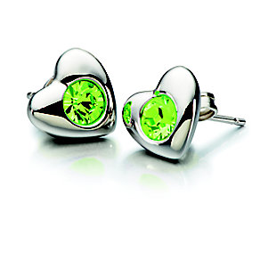 Chamilia Peridot Swarovski Crystal Silver Heart Studs - Product number 2178001