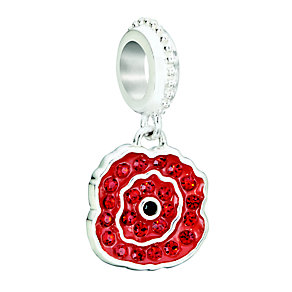 Chamilia Silver & Red Swarovski Crystal Hanging Poppy Bead - Product number 2178427