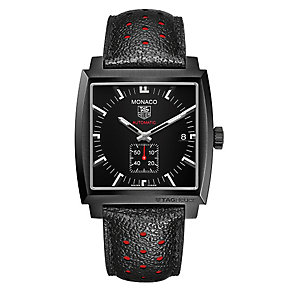 Tag Heuer Monaco black leather strap watch - Product number 2179660