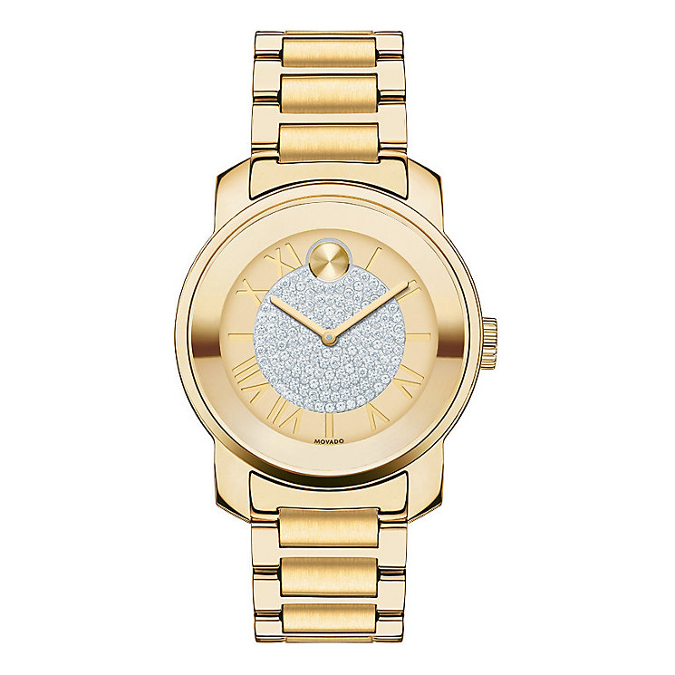 Movado Bold ladies' gold-plated pave set bracelet watch - Product number 2180561