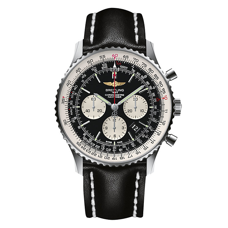 Breitling Navitimer 01 46mm Swiss Pilot's Black Strap Watch