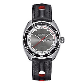 Hamilton Pan-Europ men's black leather strap watch - Product number 2181592