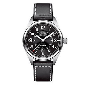 Hamilton men's black leather strap watch - Product number 2181649