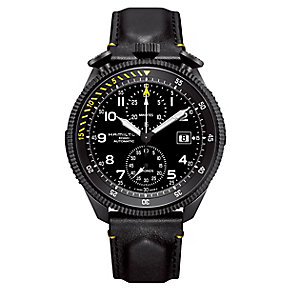 Hamilton Khaki Takeoff black leather strap watch - Product number 2181665