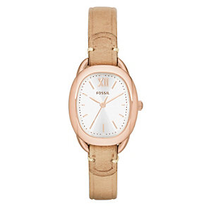 Fossil Ladies' Sculptor Rose Gold Tone Nude Strap Watch - Product number 2185733