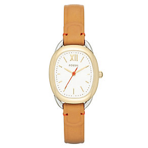 Fossil Ladies' Sculptor Gold Tone Tan Strap Watch - Product number 2185741