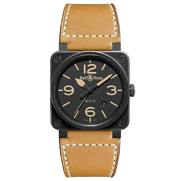 Bell & Ross BR03 men's ceramic tan leather strap watch - Product number 2185873