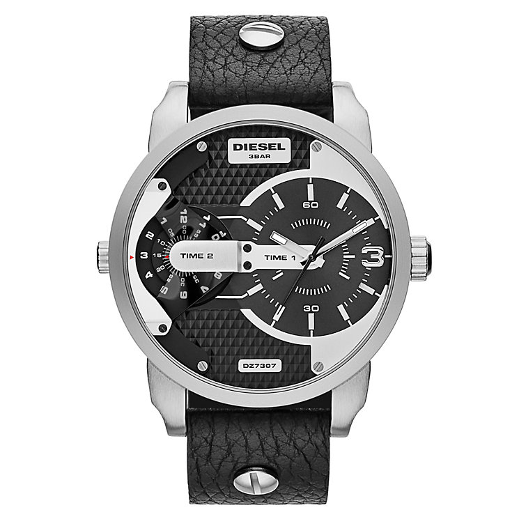 Diesel Mens Mini Daddy Black Dial & Leather Strap Watch - Product number 2188104
