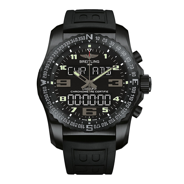 Breitling Cockpit B50 men's black rubber strap watch