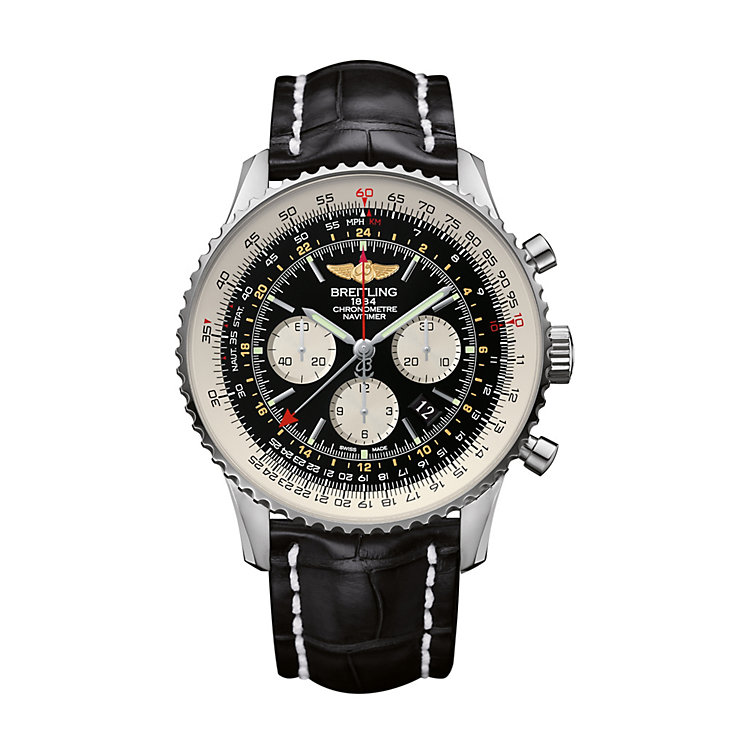 Breitling Navitimer GMT chronograph men's strap watch