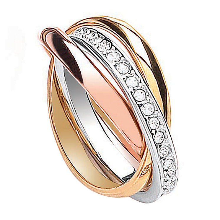Buckley Three Colour Channel Set Crystal Russian Ring Small - Product number 2190273