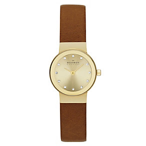 Skagen Ladies' Gold Dial Stone Set Brown Leather Strap Watch - Product number 2191423