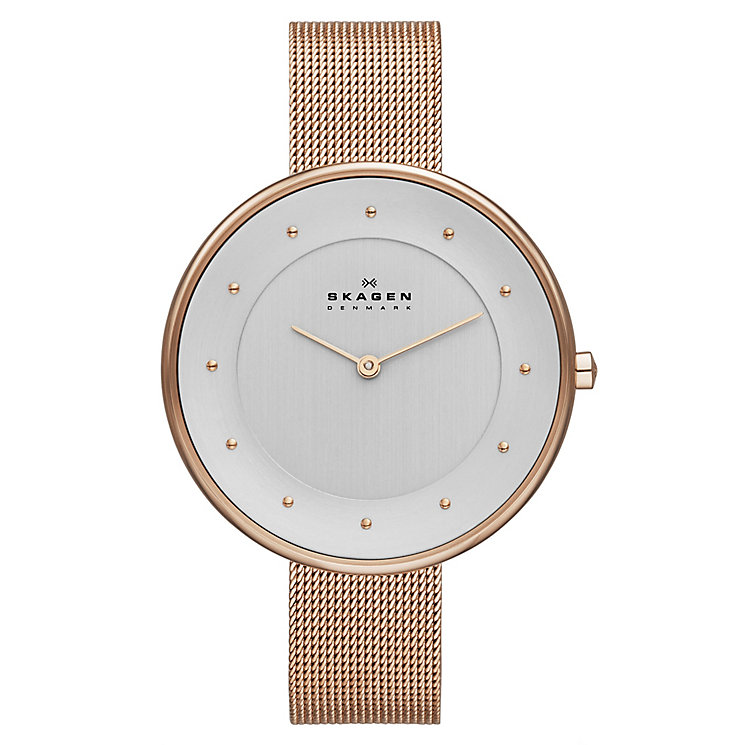 Skagen Ladies' Klassik Rose Gold Tone Mesh Bracelet Watch - Product number 2191431